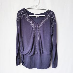 Knox Rose Purple Embroidered Top Ruched L